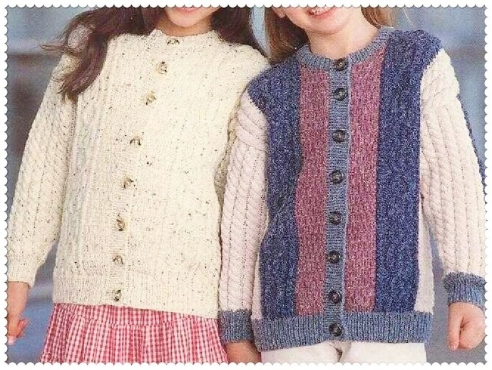 Instant PDF Download Vintage Row by Row Knitting Pattern for A Girl's Aran Style