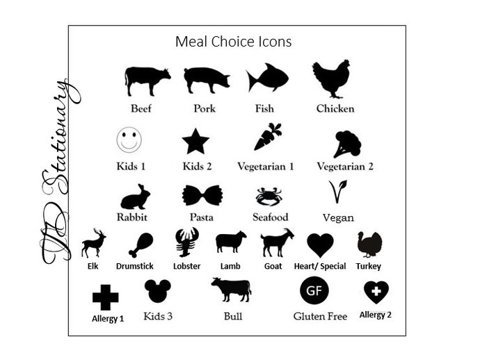 Set of 50 Meal Choice Stickers / Decals / Place Card Food Options / Meal Option