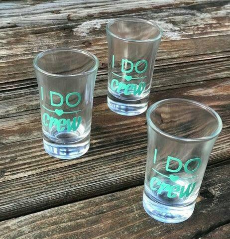 Set of 10 Bridal Party / Bachlorette Party Shot Glasses