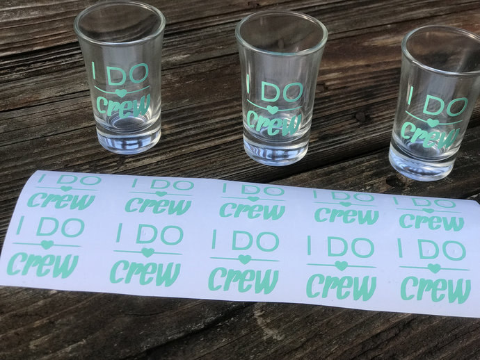 """D.I.Y 2"""" Vinyl  Shot  Glass Name Decal - Set of 4  Decals / Stickers  -"""