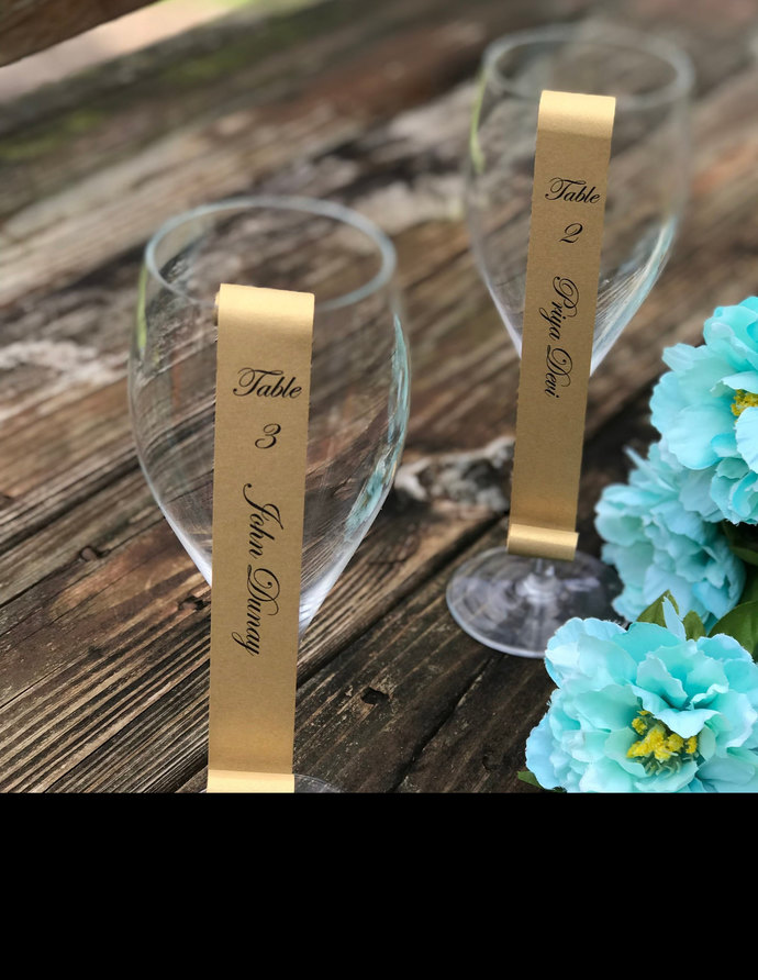 Set of 25 Shimmery Gold Champagne Flute / Wine Glass Seating Escort Scroll -