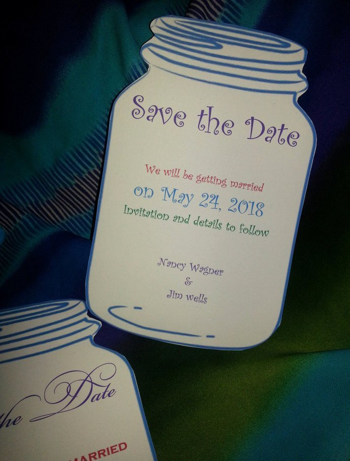 Playful Mason Jar Save the Date Card / Birthday Party Invites / Personalized