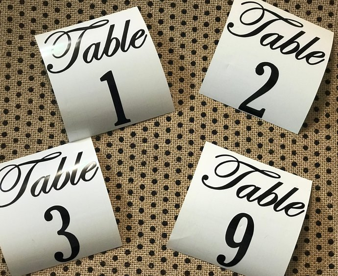 Elegant Wedding Table Numbers / Vinyl Stickers - size 3.5 Wide
