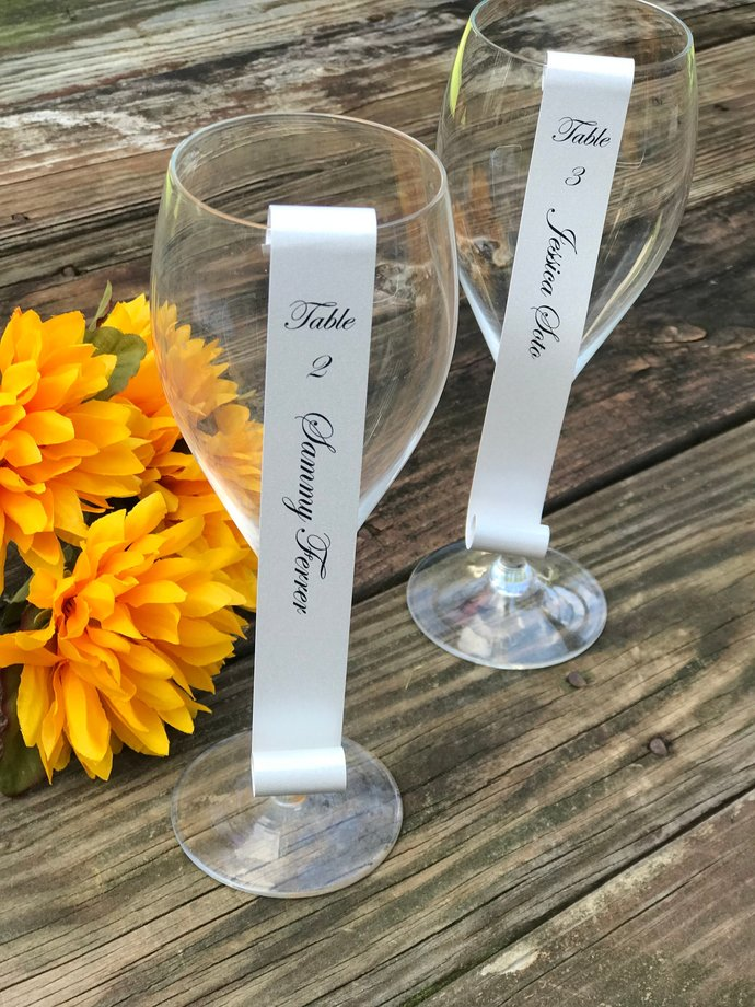 Set of 100 Shimmery Silver Wine Glass / Champagne Flute Escort / Place Card