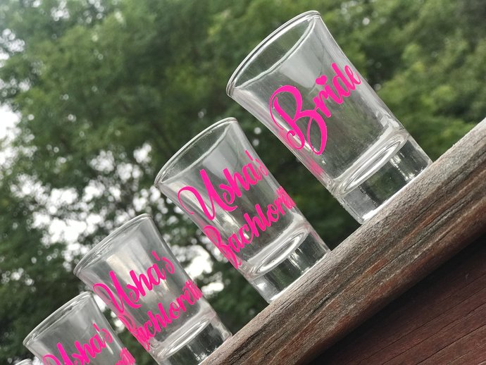 Set of 15 Bridal Party / Bachlorette Party Shot Glasses