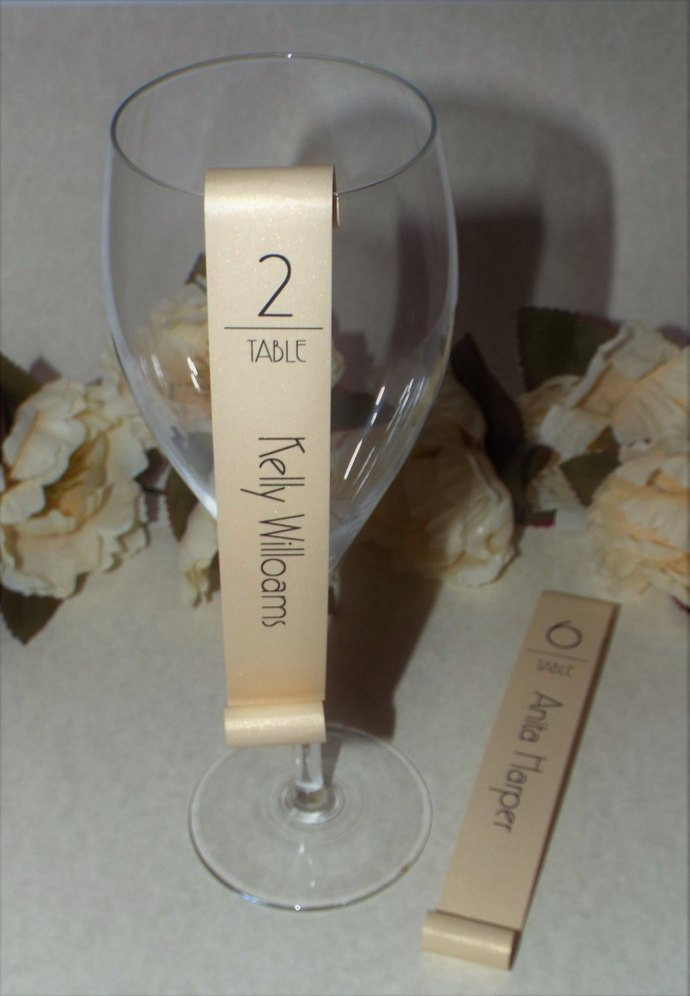 Set of 25 Shimmery Gold Gatsby Inspired Champagne Flute Seating Escort Scroll -
