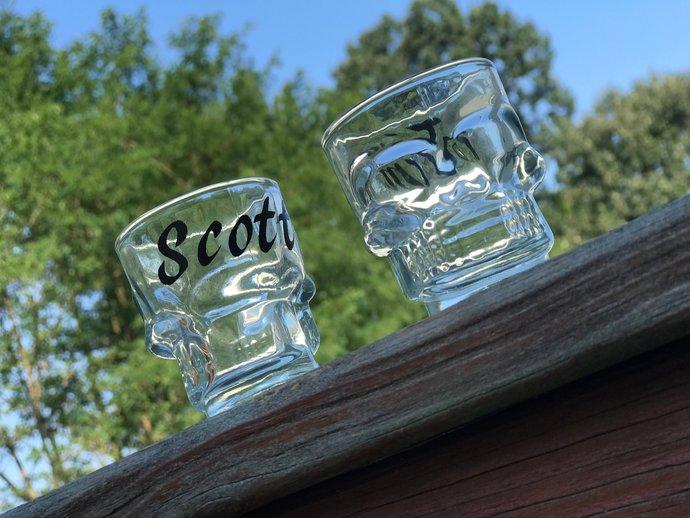 Personalized Skull Shot Glass  / Halloween