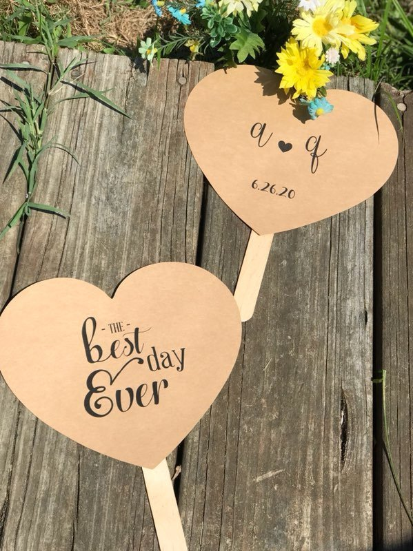 Kraft  Heart Shaped Paddle Wedding Program  / Favors - Set of 25