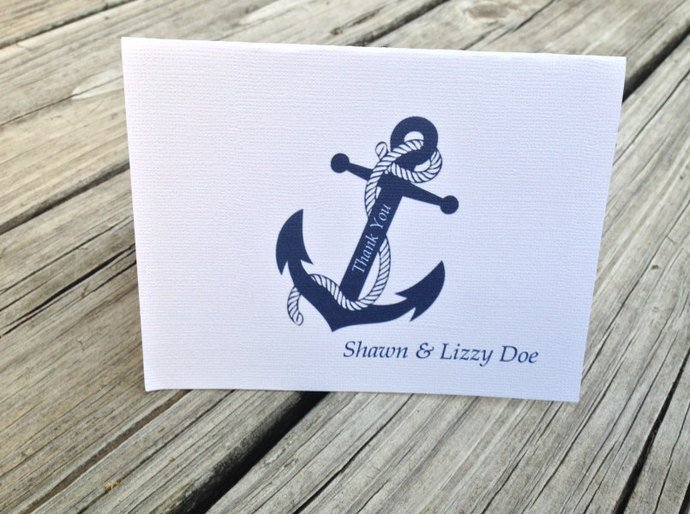Personalized Nautical Anchor Thank you Cards / Party Invite / Note Card Set