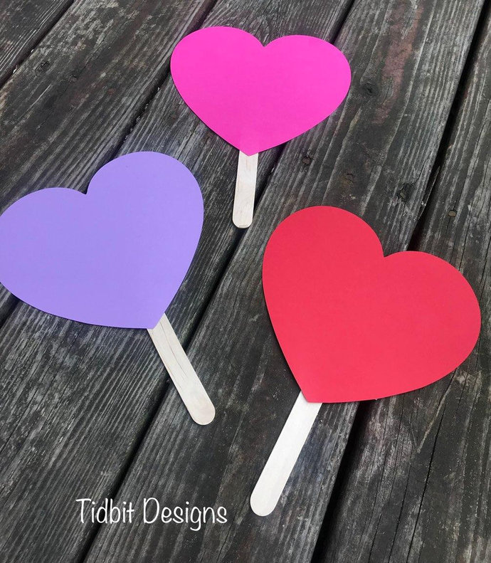 Personalized Samples or Blank  Heart Shaped Paddle Wedding  / Favors