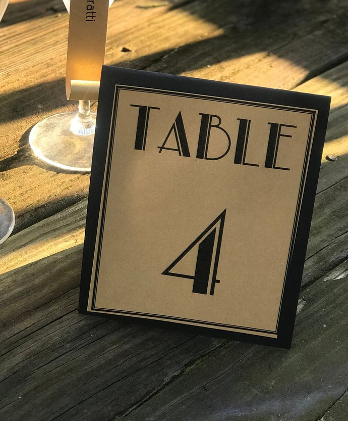Shimmery Gold Gatsby Inspired Tented Table Numbers / Wedding / Special Event