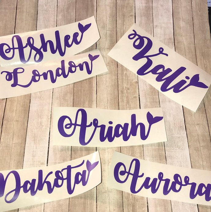 Mermaid Tail Vinyl Name Decal - DIY Name Decal / Name Sticker / Personalized /