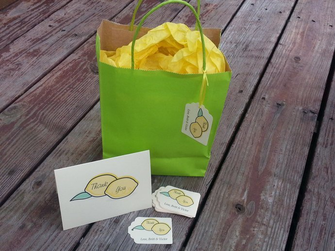 Personalized Happy Little Lemons Favor Tags / Party / Shower/ Wedding / Summer /