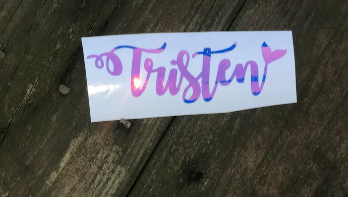 Iridescent Mermaid Tail  Name Vinyl Decal  /  Personalized Name Stickers / Opal