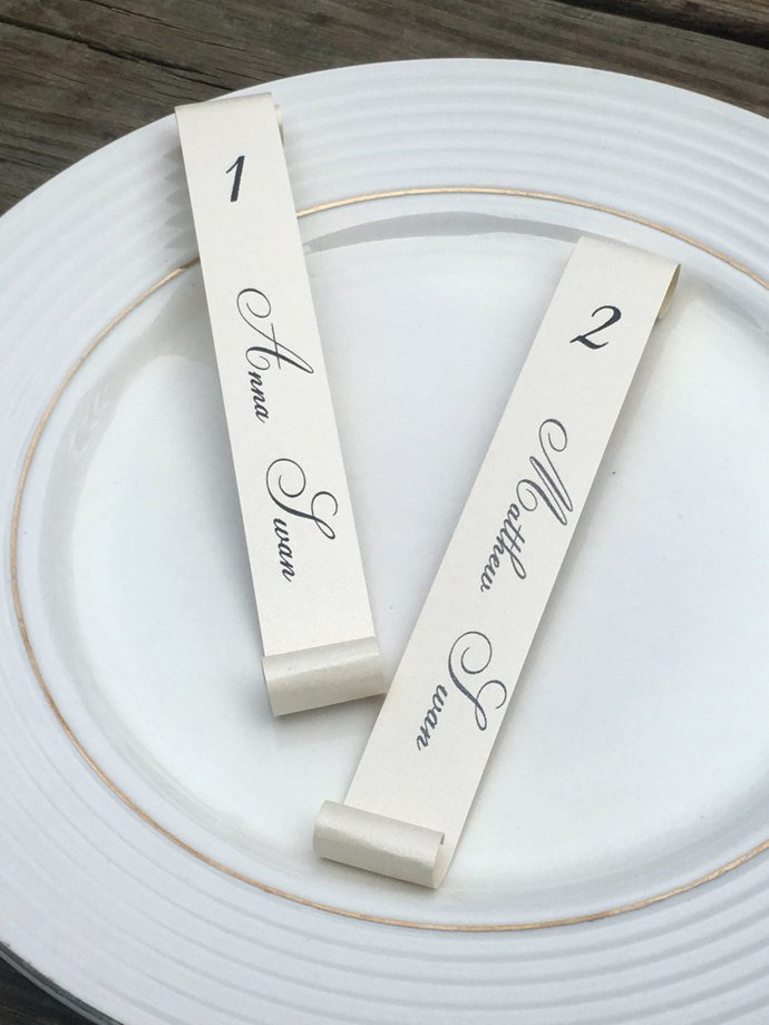 Set of 100 Large Number Champagne Flute Escort Seating Scrolls - Wedding /