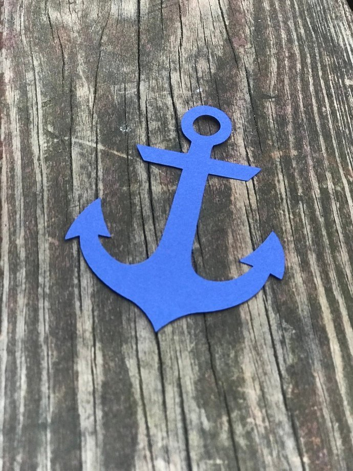 25 Navy Blue Anchor Nautical Die Cut out Embellishments