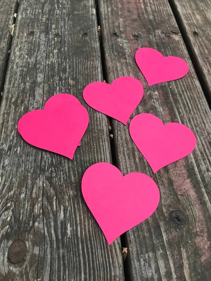 30 Red Heart Die Cut out Embellishments