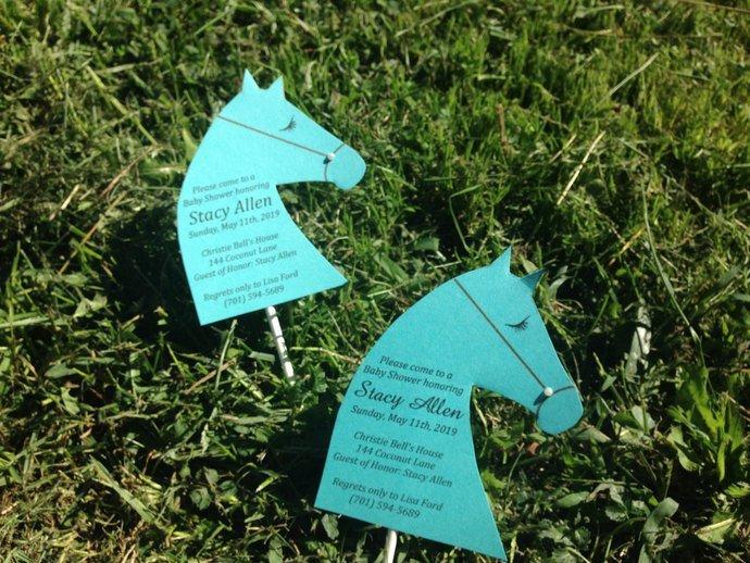 Beautiful Aqua Blue & White Personalized Hobby Horse Invitation Set / Birthday/