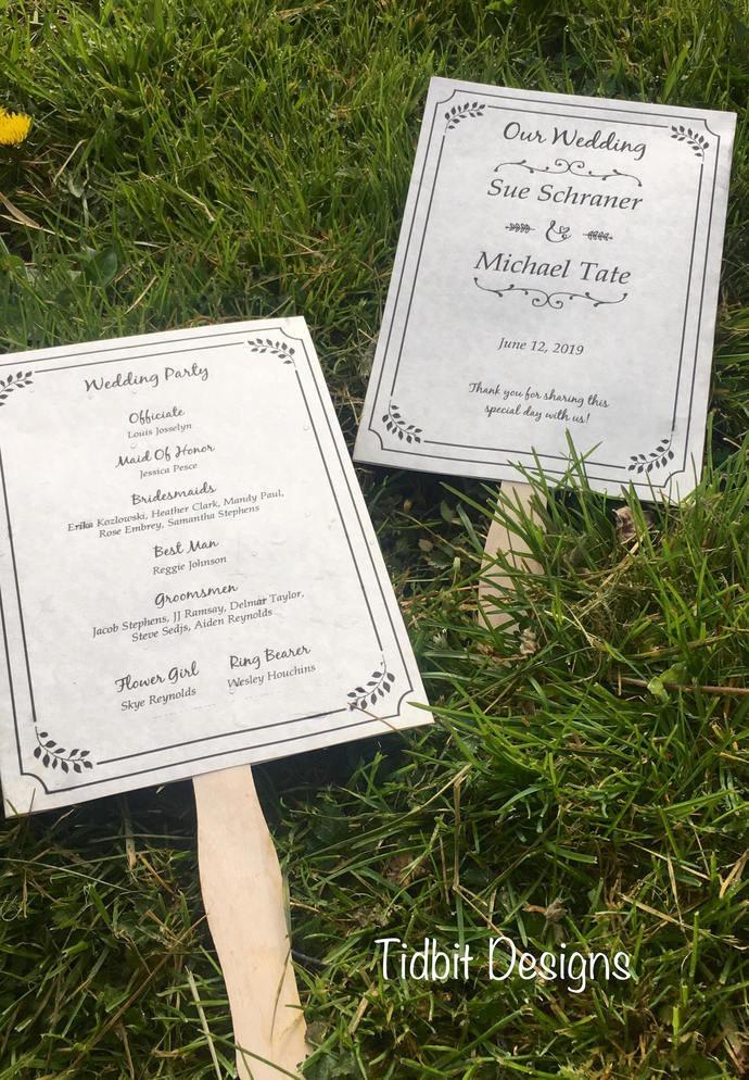 Whimsical Paddle Program Set / Wedding - Special Event