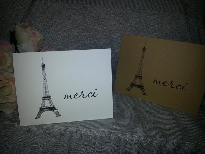 Eiffel Tower Thank you or Merci / Note Cards / Personalized set of 25