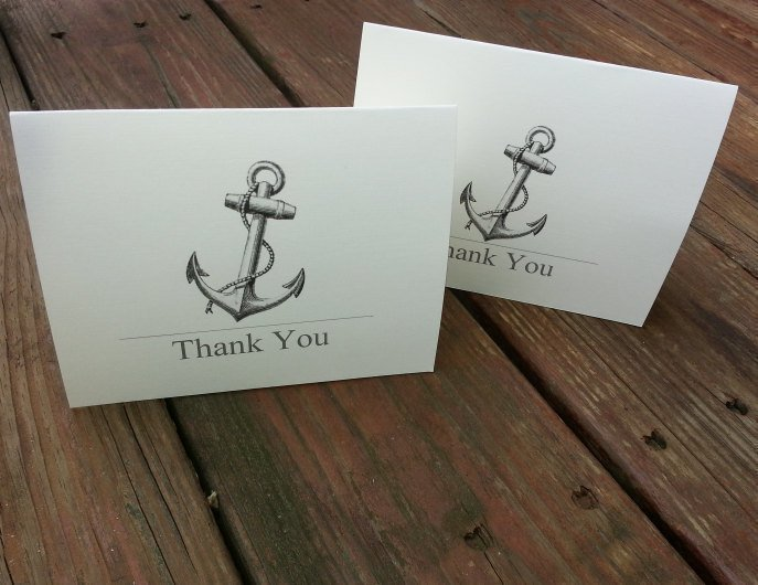 Beautiful Personalized Anchor Thank you Cards / Party Invite / Note Cards
