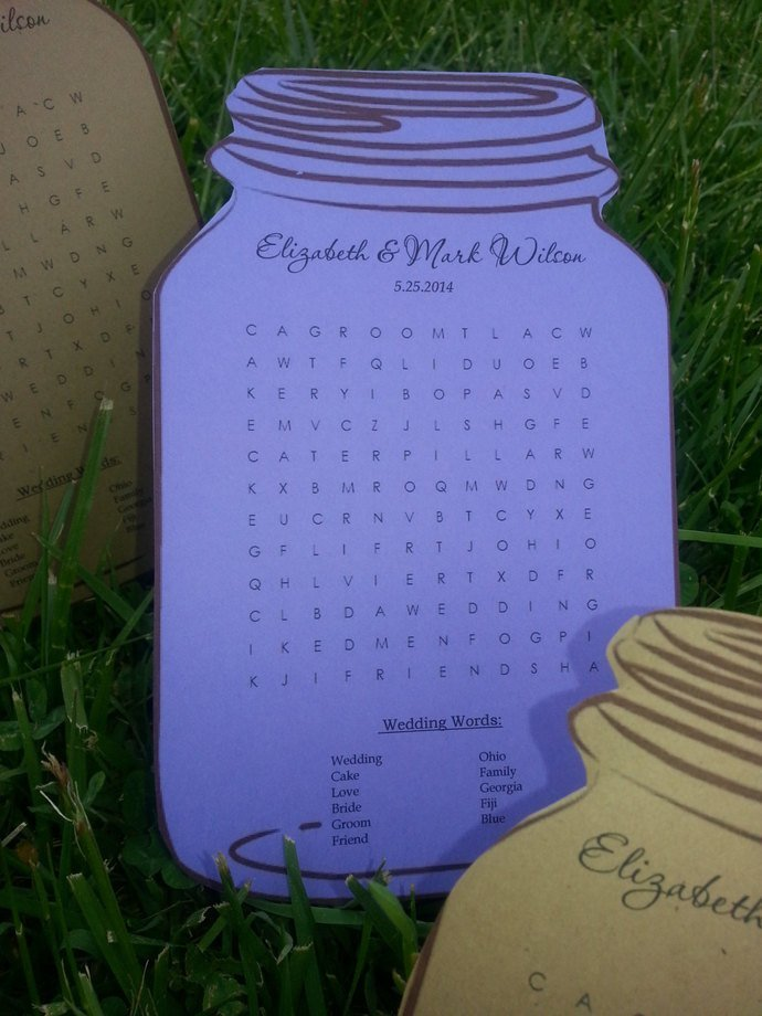 Personalized Mason Jar Party Puzzles / Favors/ Wedding / Birthday / Set of 25