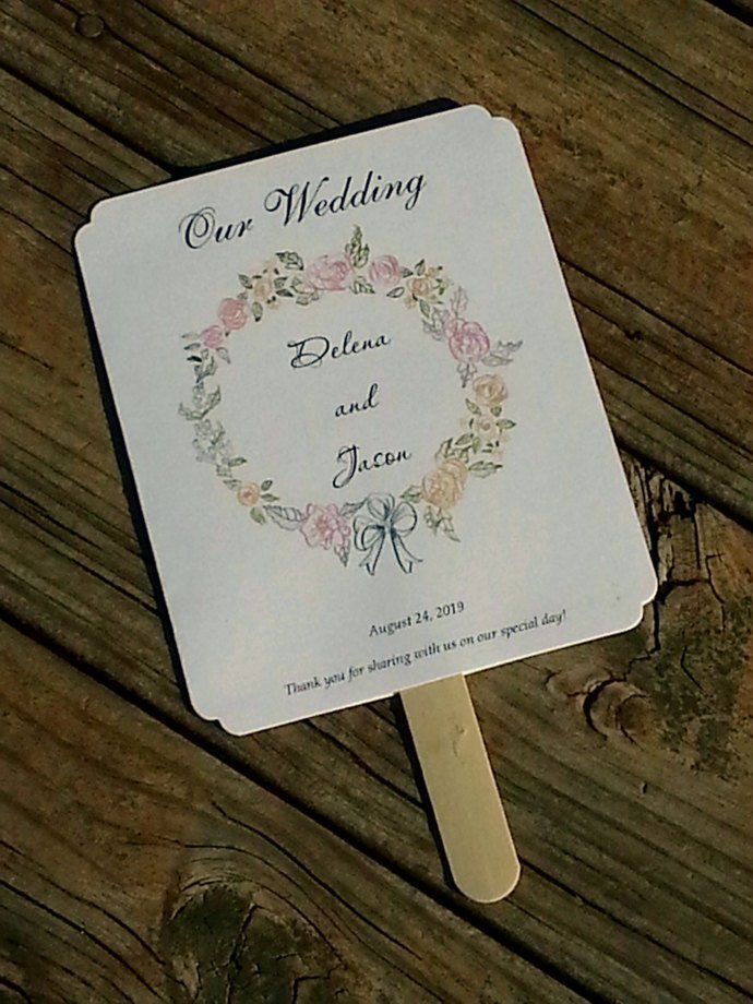 Beautiful Floral Wreath Paddle Programs - Personalized Wedding / Party