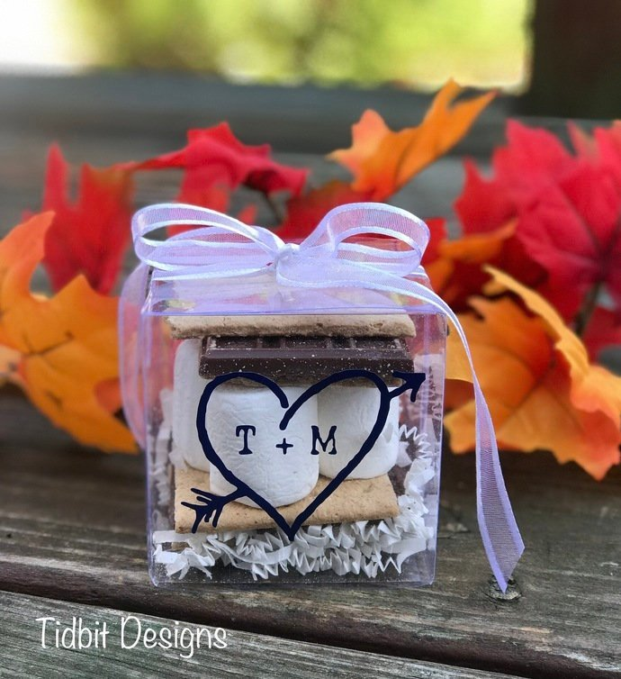 10 DIY Personalized Smores / Treat Wedding Favor Boxes / DIY Favors/ Wedding