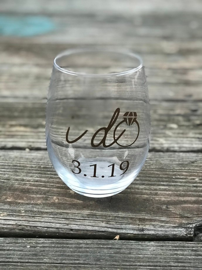 Set of 5 I do or I do Crew Stemless Wine Glass with Wedding Date / Bachelorette