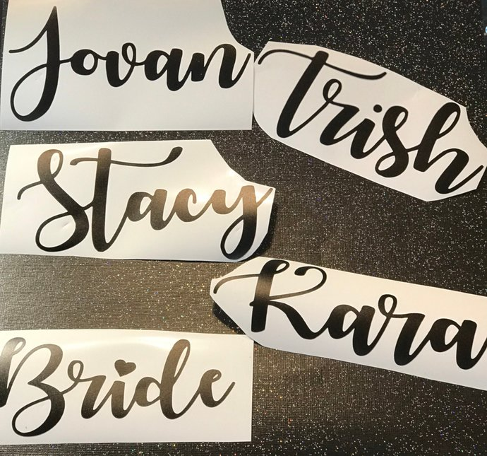 Personalized Bridal Party / Bachlorette Party Name Decals