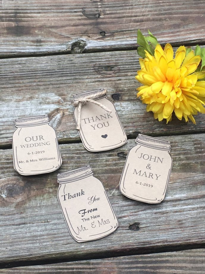Set of 10 Mason Jar Favor Tags / Personalized / Blank