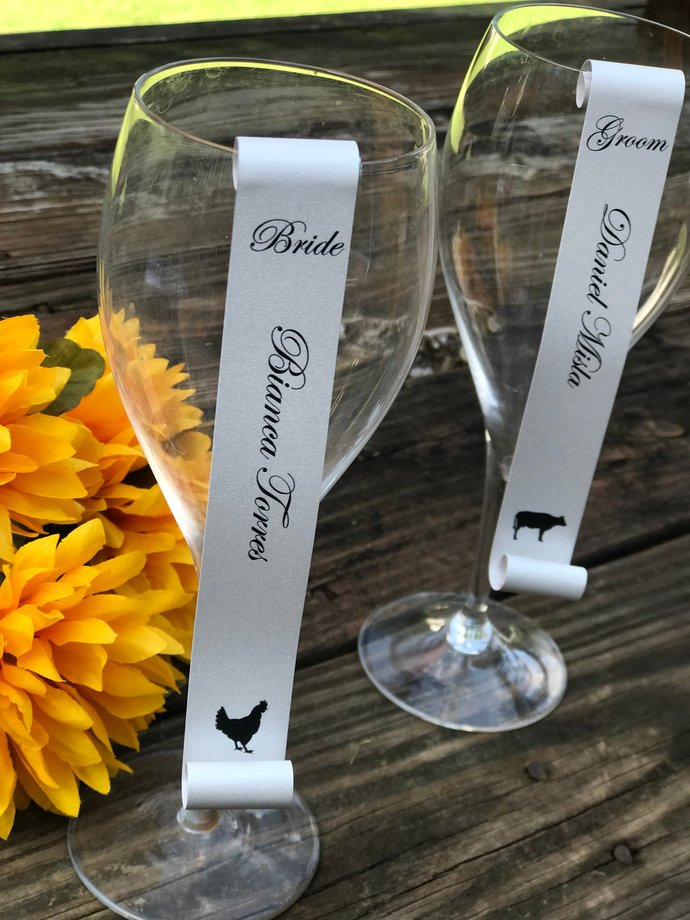 Set of 25 Personalized Meal Choice Wine Glass / Champagne Flute Seating Place