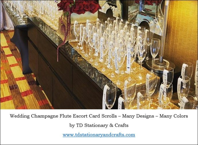 Set of 25 Beautiful Gold Rhinestone Studded Champagne Flute / Seating Card