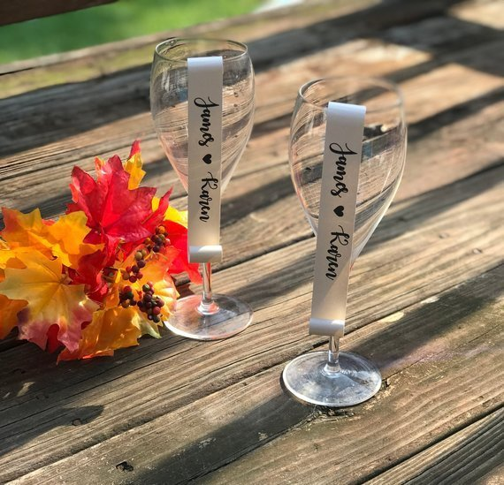 Bride and Groom Name Favor Scrolls / Wine Glass / Champagne Flute/ Plate Favor /