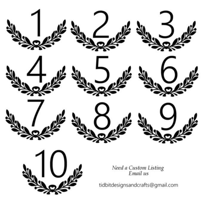 Laurel Wreath Table Number Vinyl Decal