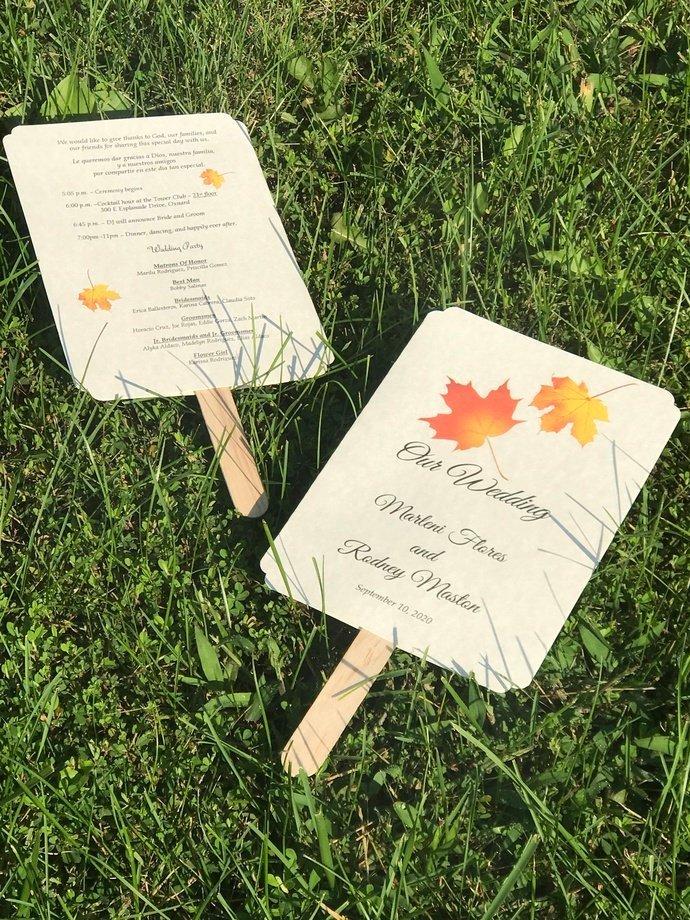 Autumn Leaves Wedding Paddle Program / Favors / Personalized Set
