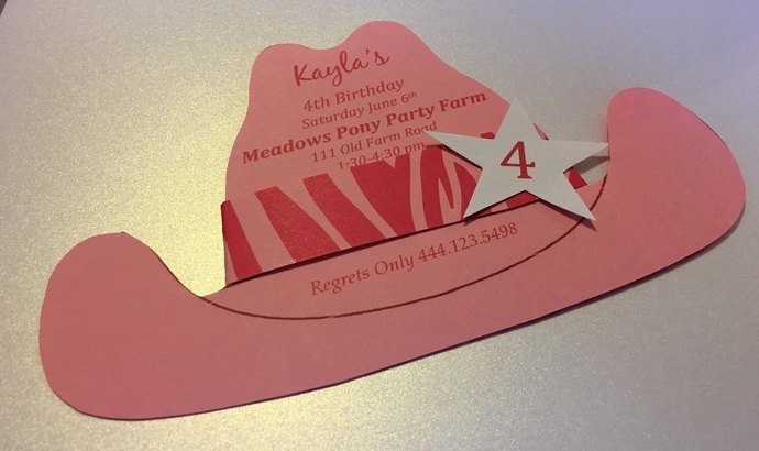 Little Diva Cowgirl Hat Invitations / Cut outs / Birthday/ Showers/ Western