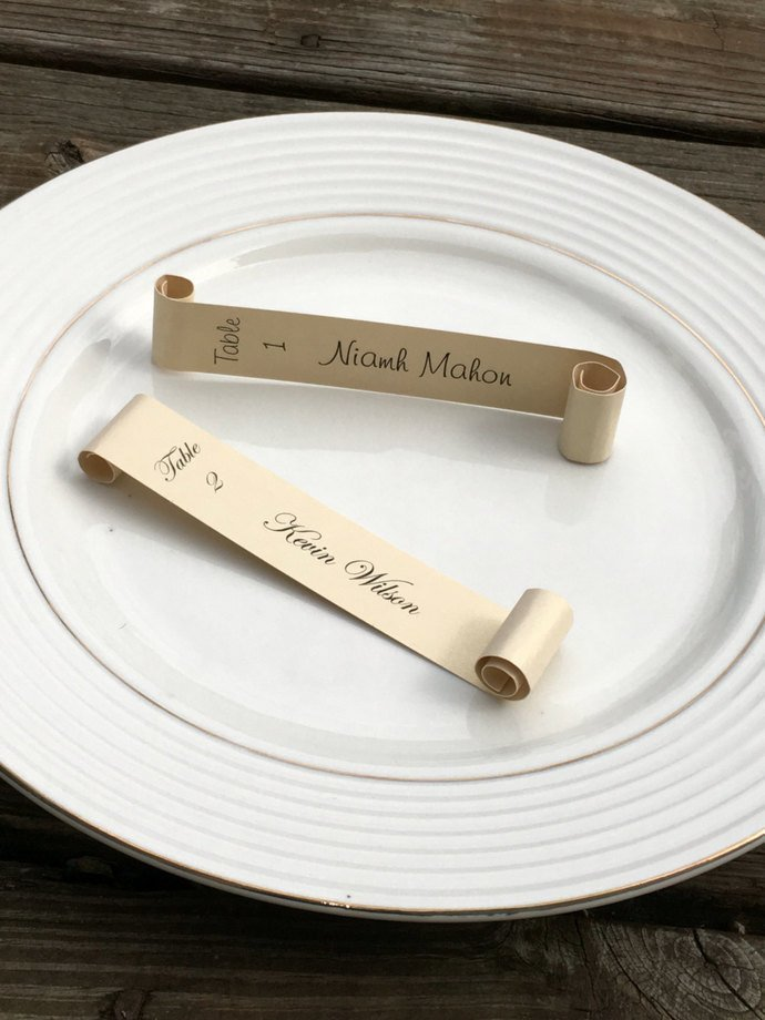 Champagne Color Wine Glass / Champagne Flute Escort / Place Card Scroll Set