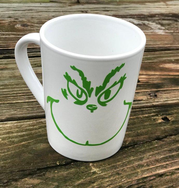 SALE ~ Grinch Inspired Holiday Coffee Mug / Christmas