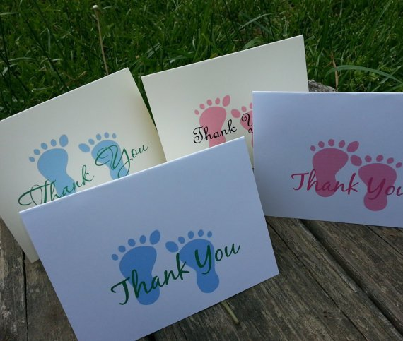 Baby Feet Shower Gift Thank You / Note Card Set - Baby Shower / Invites