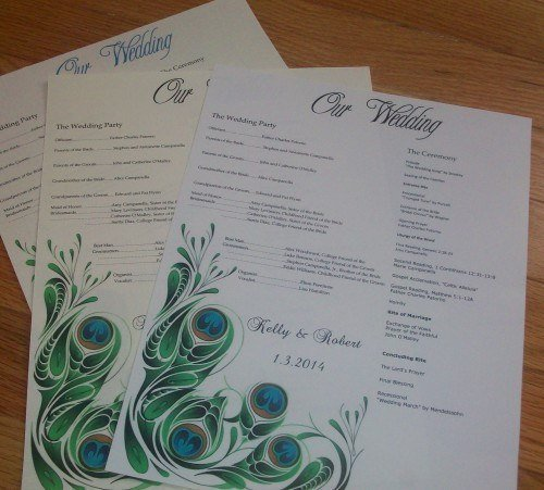 peacock love flat or scroll wedding program by tidbitdesigns on zibbet