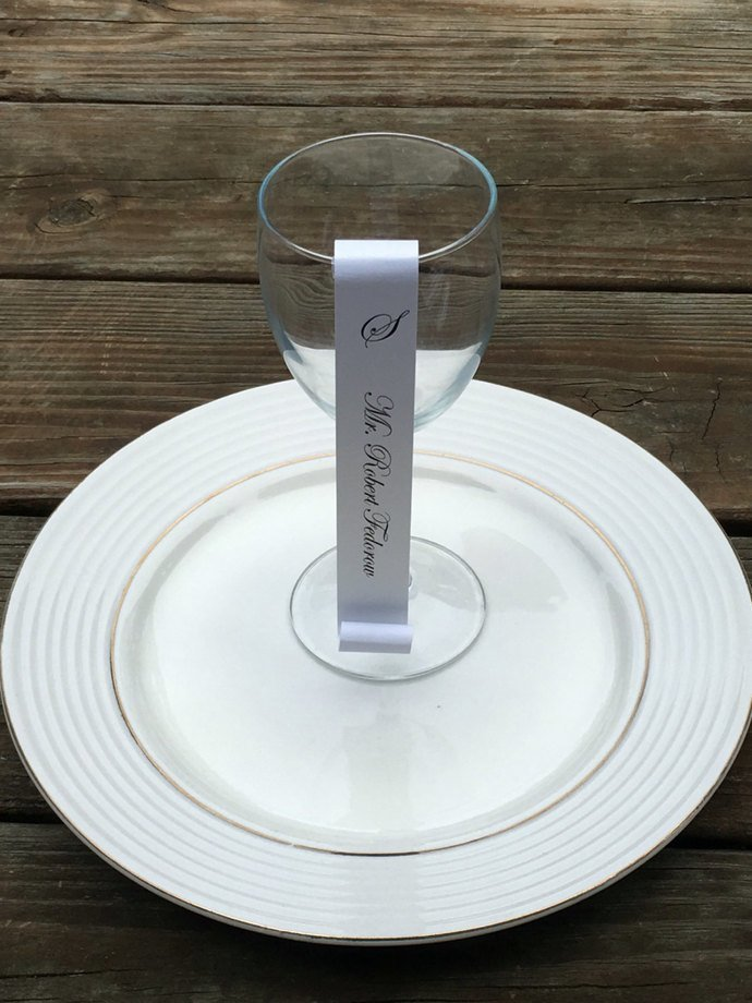 Set of 25 Beautiful Monogram Wine Glass / Champagne Flute Seating/ Place Card