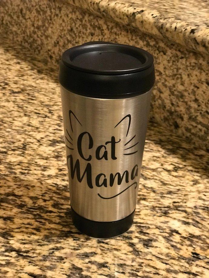 Cat Mama Steel Travel Coffee Mug / Tumbler