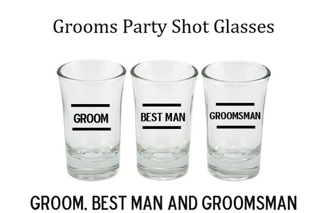 Personalized Grooms  Party / Bachelor Party Shot Glasses for Groom / Best Man