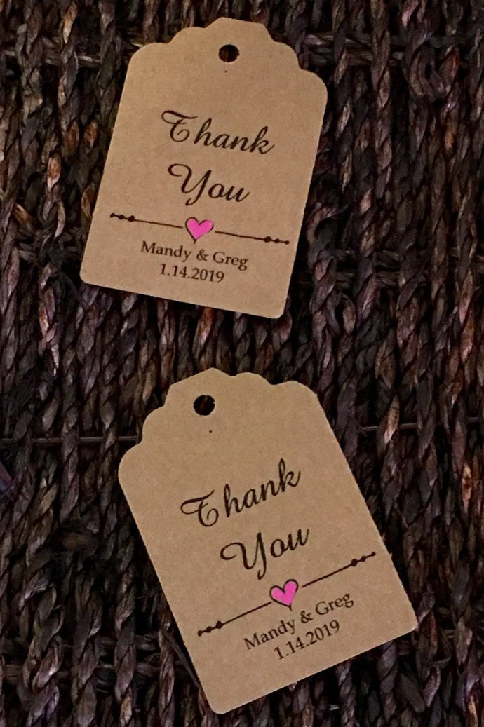 Pretty Little Heart Thank You Color Favor Tags / Wedding/ Party / Birthday /