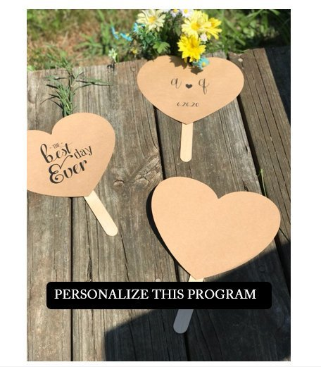Set of 100 With All my Heart Personalized Heart Shaped Paddle Wedding Program /
