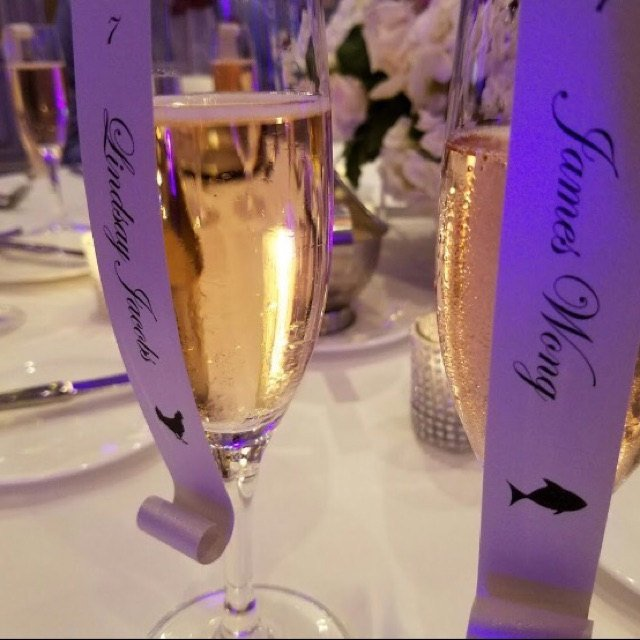Set of 50 Meal Choice Wine Glass / Champagne Flute Seating Place Card Scroll -