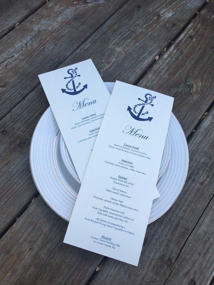 Anchor Personalized Tea Length Menu Cards / Programs