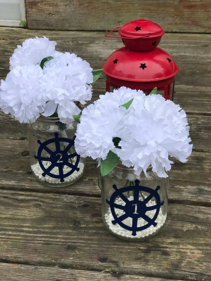 Nautical Ship Wheel Wedding Table Numbers / Vinyl Decals