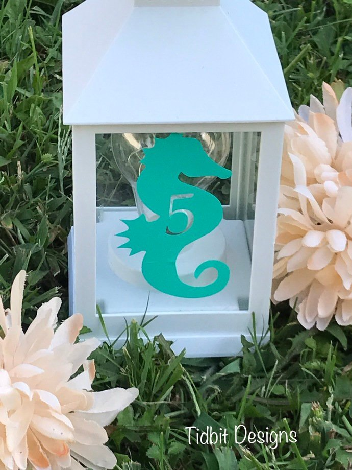 Seahorse Beach Themed Wedding Table Numbers / Wedding Table Numbers